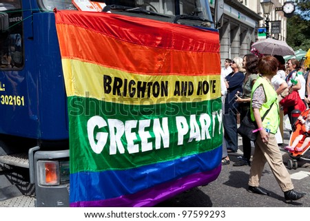 BRIGHTON, UK - AUG 13. Brighton and Hove Green Party take part in the Pride Parade at Brighton Pride Festival on August 13, 2011, Brighton, West Sussex, England.
