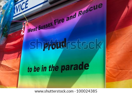 BRIGHTON, UK - AUG 13. West Sussex Fire and Rescue take part in the Pride Parade at Brighton Pride Festival on August 13, 2011, Brighton, West Sussex, England.