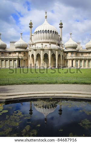 brightons regency period royal pavilion reflected in pond in sussex england