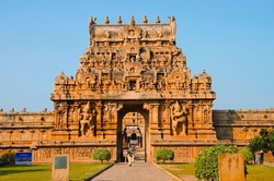 Brihadishvara Temple, Thanjavur, Tamil Nadu, India. Hindu temple dedicated to Lord Shiva, it is one of the largest South Indian temple and an exemplary example of a fully realized Tamil architecture
