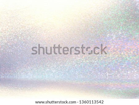 Brilliance shimmer 3d background. White glitter blurred wall and floor. Subtle room defocus illustration. Diamond sparkles abstract texture. Cool light studio interior.