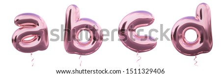 Brilliant balloon alphabet letter a, b, c, d with Pastel purple color or violet color. Realistic metallic air balloon 3d rendering with Clipping path ready to use for your trendy and stylish font set