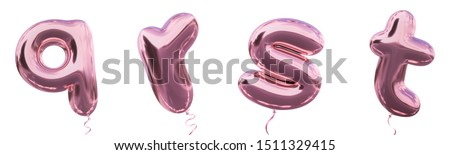 Brilliant balloon alphabet letter q, r, s, t  with Pastel purple color or violet color. Realistic metallic air balloon 3d rendering with Clipping path ready to use for your trendy and stylish font set