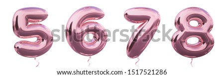 Brilliant balloon number 5, 6, 7, 8 with Pastel purple color or violet color. Realistic metallic air balloon number 3d rendering with Clipping path ready to use for your trendy and stylish font set