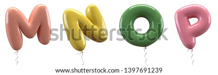 Brilliant balloons font. Alphabet letter m, n, o, p made of realistic elastic color rubber balloon. 3D illustration for your extraordinary balloon decoration in several concepts idea in many occasion Foto stock ©