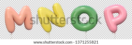 Brilliant balloons font. Alphabet letter m, n, o, p made of realistic rubber balloon with clipping path ready to use. 3D illustration for your extraordinary balloon decoration in several concepts idea Foto stock ©