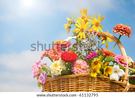 Brilliant, colorful flowers in a wicker basket against sky and clouds