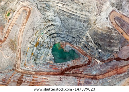 Brilliant colors explode in a vertical view of an open pit mining from above