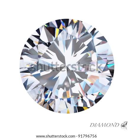 brilliant cut diamond isolated on white background
