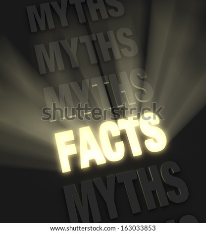 """Brilliant light rays burst from a glowing, gold """"FACTS"""" in a row of """"MYTHS"""" on a dark background"""
