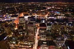 Brilliant night lights of the city of Sydney