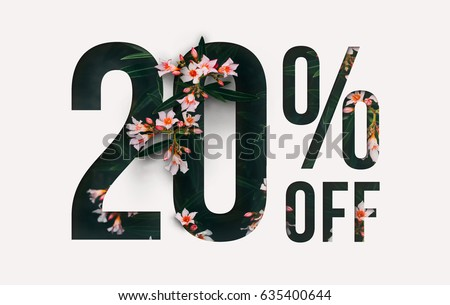 Brilliant Promotion sale poster, banner, ads 20% off discount. Precious Paper cut with real orchid flowers and leaves. For your unique selling poster / banner promotion offer percent discount ads.