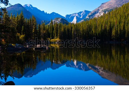 Brilliant reflections on Bear Lake, Rocky Mountain National Park , Colorado