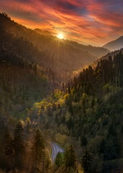 Brilliant sunset in the Smoky Mountains