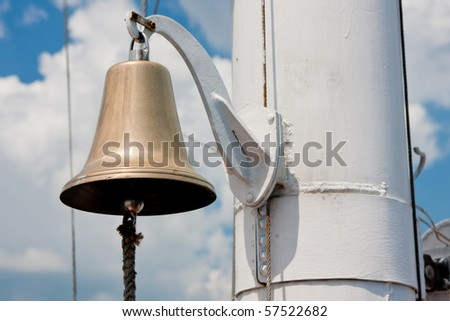 brilliant yacht bell hanging on a rope