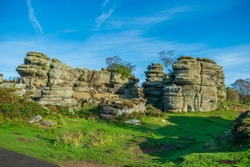 Brimham Rocks are 400 million year old weathered sandstone, known as Millstone Grit, creating damatic shapes, many of which have been named.