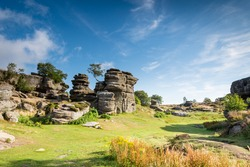 Brimham Rocks on a sunny day / Brimham Rocks on Brimham Moor in North Yorkshire are weathered sandstone, known as Millstone Grit,creating some dramatic shapes, many of which have been named