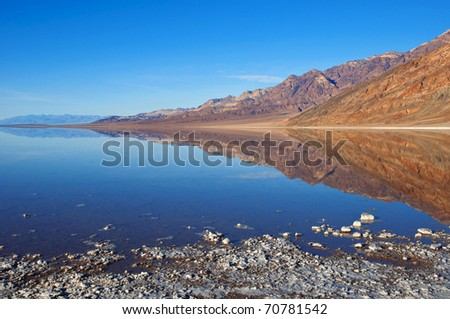 Brine pool reflecting the desolate mountains of Death Valley, California.