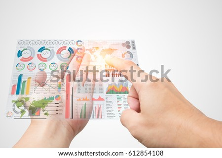 bring business marketing information in your hand and select data. modern exclusive management chart infographic display on over in manager male open palm on white background #612854108