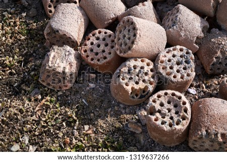 Briquettes commonly used in winter in used and abandoned Korea