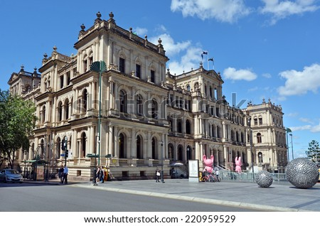 BRISBANE, AUS - SEP 26 2014: Exterior of the Treasury Casino. The former Queensland Government Treasury Building is a heritage building. It is currently occupied by the Treasury Casino owned by Tabcorp.