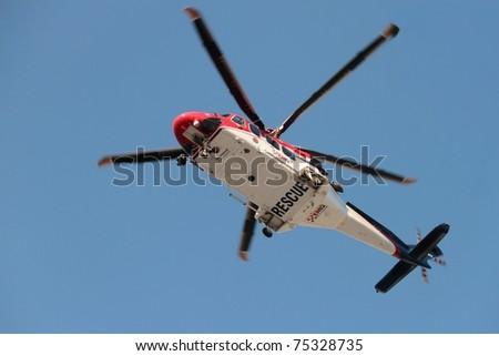 BRISBANE, AUSTRALIA - APR 14 : EMQ emergency helicopter making patient rescue landing at Royal Brisbane Hospital on April 14, 2011 in Brisbane, Australia