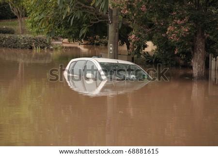 BRISBANE, AUSTRALIA - JAN 13 : Flood  Brisbane  auchenflower area Queensland declared natural disater January 13, 2011 in Brisbane, Australia #68881615