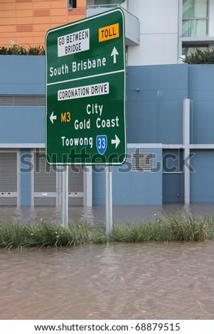 BRISBANE, AUSTRALIA - JAN 13 : Flood  Brisbane City  area Queensland declared natural disaster January 13, 2011 in Brisbane, Australia