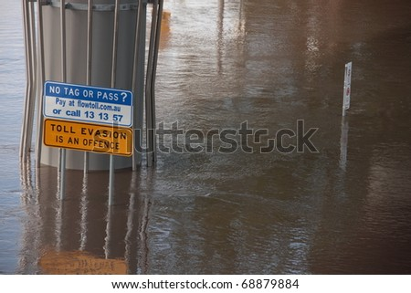 BRISBANE, AUSTRALIA - JAN 13 : Flood  Brisbane City  area Queensland declared natural disaster January 13, 2011 in Brisbane, Australia