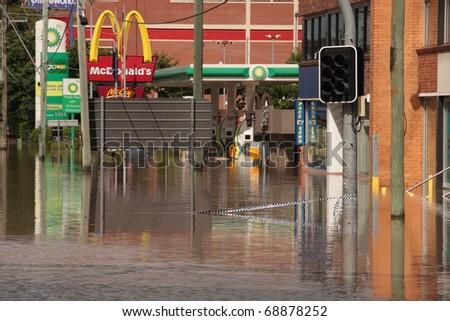 BRISBANE, AUSTRALIA - JAN 13 : Flood  Brisbane Milton brewery area Queensland declared natural disaster January 13, 2011 in Brisbane, Australia