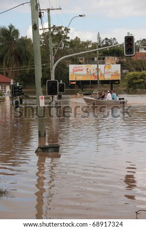 BRISBANE, AUSTRALIA - JAN 13 : Flooded  Brisbane City  area Queensland declared natural disaster January 13, 2011 in Brisbane, Australia