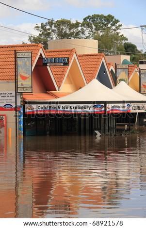 BRISBANE, AUSTRALIA - JAN 13 : Flooded  Brisbane rosalie area Queensland declared natural disaster January 13, 2011 in Brisbane, Australia