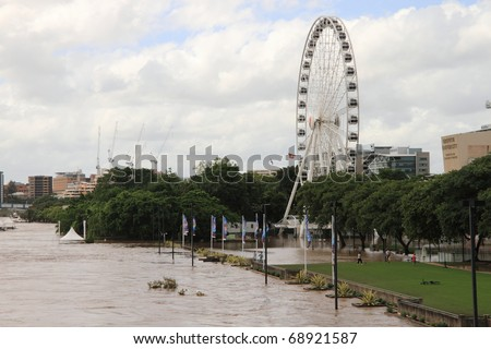 BRISBANE, AUSTRALIA - JAN 13 : Flooded  Brisbane south bank area January 13, 2011 in Brisbane, Australia - stock photo