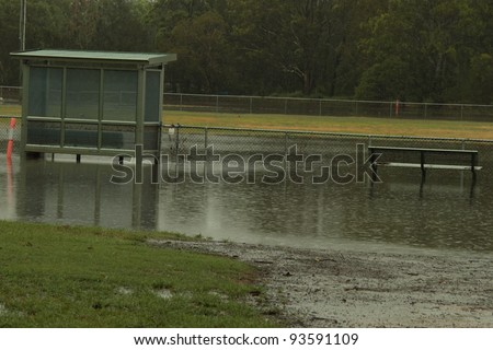 BRISBANE, AUSTRALIA - JAN 25 : One year on Brisbane flooding again, Redcliffe Peninsula Australian Football Club underwater January 25, 2012 in Brisbane, Australia