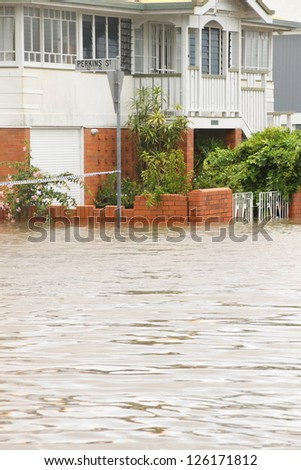 BRISBANE, AUSTRALIA - JANUARY 28 : Houses flooded from ex tropical cyclone Oswald on January 28, 2013 in Brisbane, Australia