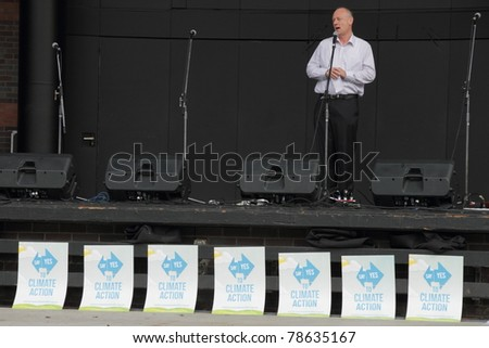 BRISBANE, AUSTRALIA - JUNE 6 : World Visions reverend Tim Costello addresses rally at say Yes protest during World environment day 6, 2011 in Brisbane, Australia