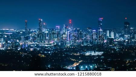 Brisbane Australia night city skyline view