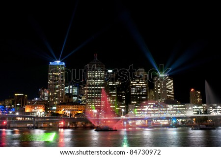 BRISBANE, AUSTRALIA - SEPTEMBER 15: Santos City of Lights Laser Light Show on September 15, 2011 in Brisbane, Australia. City of Lights is an event of Brisbane Festival 2011 with two shows every night September 4 to 24.