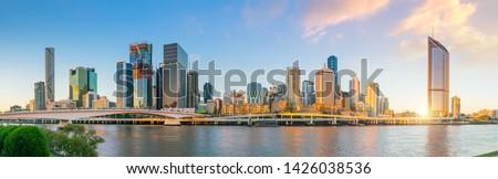 Brisbane city skyline and Brisbane river at twilight in Australia #1426038536