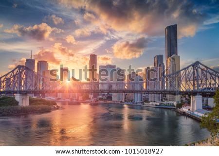 Brisbane. Cityscape image of Brisbane skyline, Australia with Story Bridge during dramatic sunset.
