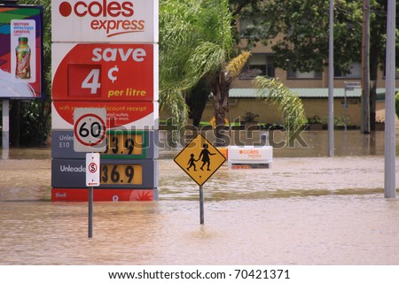 BRISBANE, QUEENSLAND/AUSTRALIA - JANUARY 13: Flooded gas station  on January 13, 2011 in Toowong, Brisbane, Queensland, Australia.
