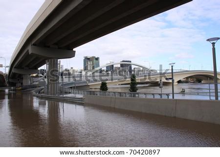 BRISBANE, QUEENSLAND/AUSTRALIA - JANUARY 13: Flooded street on January 13, 2011 in Milton, Brisbane, Queensland, Australia.