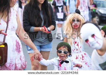 Brisbane, Queensland, Australia - October 5th 2014: Annual brain foundation zombie walk October 5th, 2014 in West end, Brisbane, Australia.