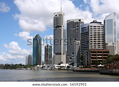 Brisbane, Queensland. Beautiful city and the river. Australia summer. Cloudy day.