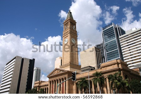 Brisbane skyline - City Hall and modern architecture. Australian urban area.