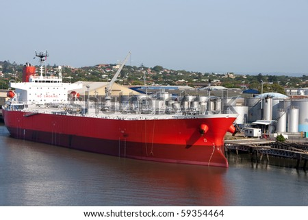 Brisbane: tanker in port. Oil tanker in the proccess of unloading