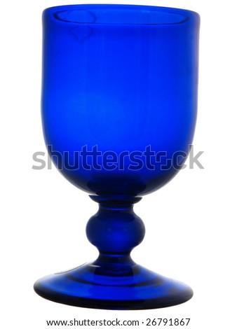 Bristol blue wine glass isolated on white - stock photo