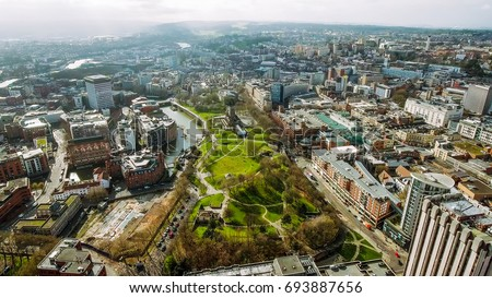 Bristol City Center Aerial View in England UK