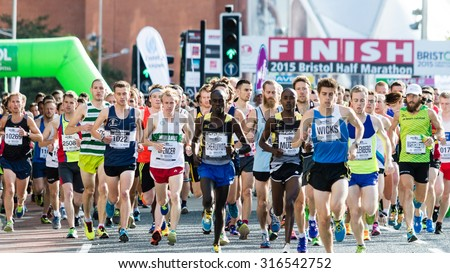 Bristol, England - 13 SEPTEMBER 2015 Bristol Half Marathon 2015 - unidentified runners start first wave B