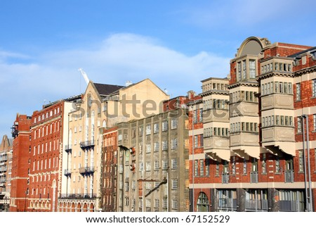 Bristol - old buildings seen from Redcliffe Bridge. United Kingdom.